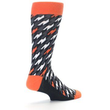 Image of Orange Black Houndstooth Men's Dress Socks (side-1-back-22)