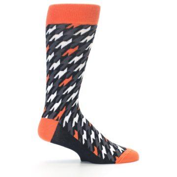 Image of Orange Black Houndstooth Men's Dress Socks (side-1-24)