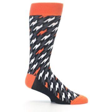Image of Orange Black Houndstooth Men's Dress Socks (side-1-25)