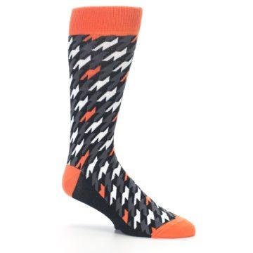 Image of Orange Black Houndstooth Men's Dress Socks (side-1-26)