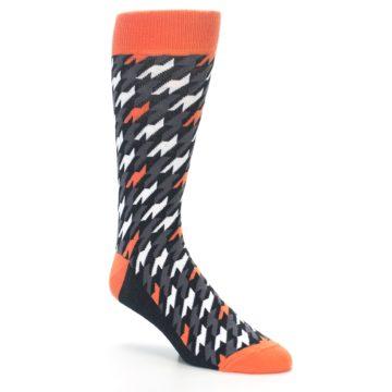 Image of Orange Black Houndstooth Men's Dress Socks (side-1-27)