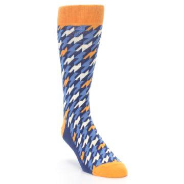Image of Navy Orange Houndstooth Men's Dress Socks (side-1-front-02)