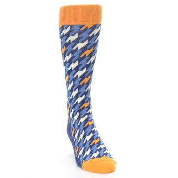 Image of Navy Orange Houndstooth Men's Dress Socks (side-1-front-03)