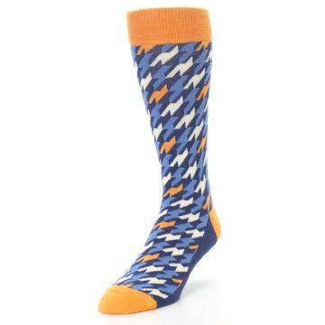 Image of Navy Orange Houndstooth Men's Dress Socks (side-2-front-07)