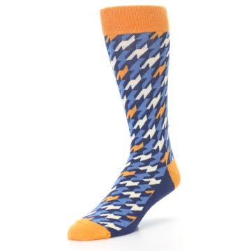 Image of Navy Orange Houndstooth Men's Dress Socks (side-2-front-08)