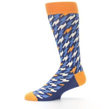 Image of Navy Orange Houndstooth Men's Dress Socks (side-2-11)