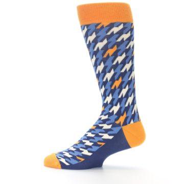 Image of Navy Orange Houndstooth Men's Dress Socks (side-2-12)