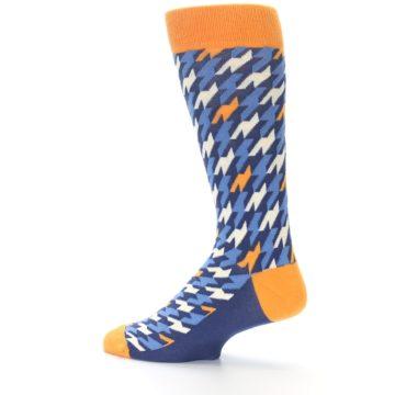 Image of Navy Orange Houndstooth Men's Dress Socks (side-2-13)