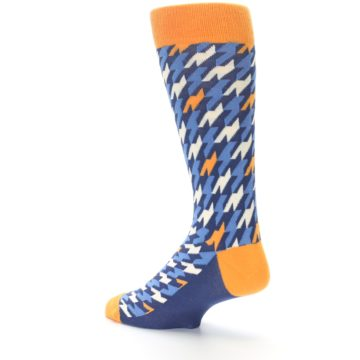 Image of Navy Orange Houndstooth Men's Dress Socks (side-2-back-14)