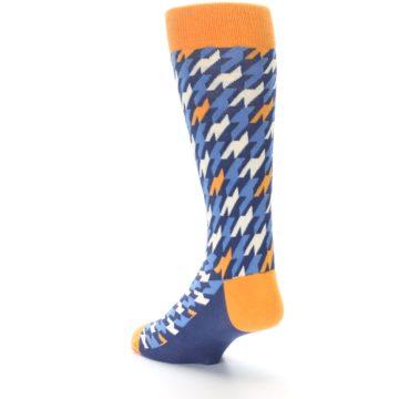 Image of Navy Orange Houndstooth Men's Dress Socks (side-2-back-15)