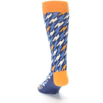 Image of Navy Orange Houndstooth Men's Dress Socks (side-2-back-16)