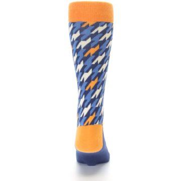 Image of Navy Orange Houndstooth Men's Dress Socks (back-18)