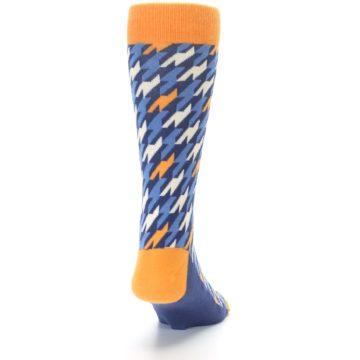 Image of Navy Orange Houndstooth Men's Dress Socks (back-19)