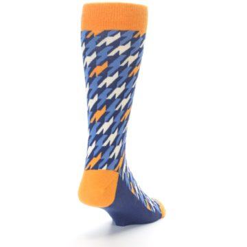 Image of Navy Orange Houndstooth Men's Dress Socks (side-1-back-20)