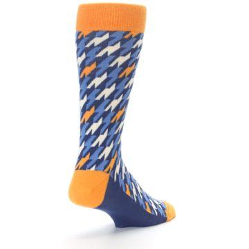 Image of Navy Orange Houndstooth Men's Dress Socks (side-1-back-21)