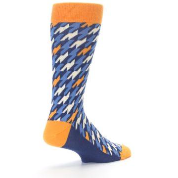 Image of Navy Orange Houndstooth Men's Dress Socks (side-1-back-22)