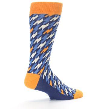 Image of Navy Orange Houndstooth Men's Dress Socks (side-1-23)