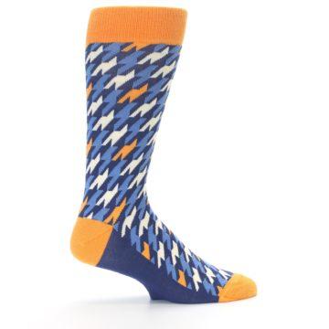 Image of Navy Orange Houndstooth Men's Dress Socks (side-1-24)