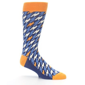 Image of Navy Orange Houndstooth Men's Dress Socks (side-1-26)