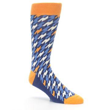 Image of Navy Orange Houndstooth Men's Dress Socks (side-1-27)
