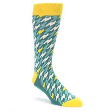 Gem Green Houndstooth Socks by Statement Sockwear
