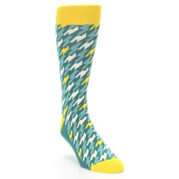 Image of Gem Green Yellow Houndstooth Men's Dress Socks (side-1-front-02)