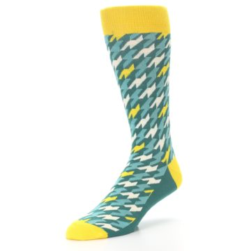 Image of Gem Green Yellow Houndstooth Men's Dress Socks (side-2-front-08)
