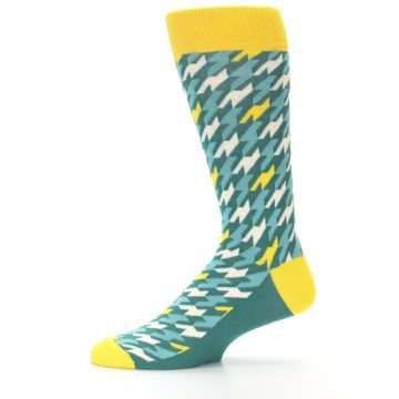 Image of Gem Green Yellow Houndstooth Men's Dress Socks (side-2-11)
