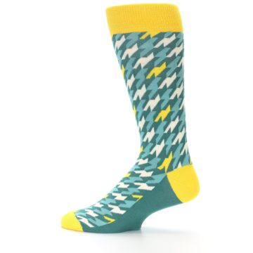 Image of Gem Green Yellow Houndstooth Men's Dress Socks (side-2-12)