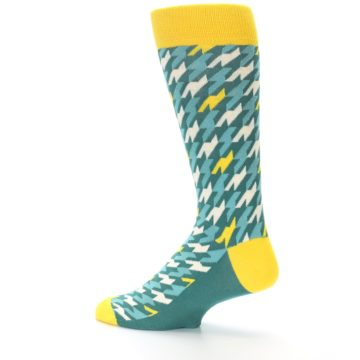 Image of Gem Green Yellow Houndstooth Men's Dress Socks (side-2-13)