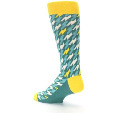 Image of Gem Green Yellow Houndstooth Men's Dress Socks (side-2-back-14)