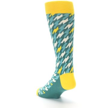 Image of Gem Green Yellow Houndstooth Men's Dress Socks (side-2-back-15)