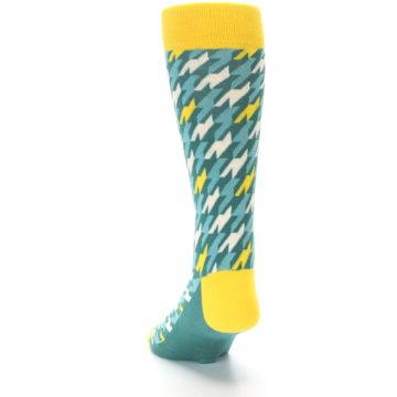Image of Gem Green Yellow Houndstooth Men's Dress Socks (side-2-back-16)