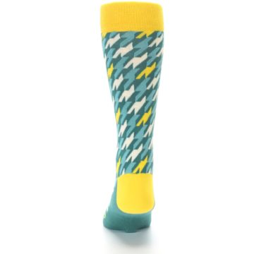 Image of Gem Green Yellow Houndstooth Men's Dress Socks (back-17)