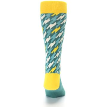 Image of Gem Green Yellow Houndstooth Men's Dress Socks (back-18)