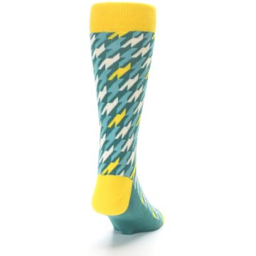 Image of Gem Green Yellow Houndstooth Men's Dress Socks (back-19)