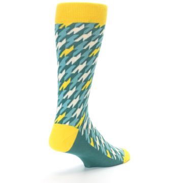 Image of Gem Green Yellow Houndstooth Men's Dress Socks (side-1-back-21)