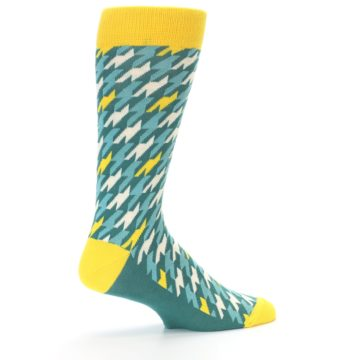 Image of Gem Green Yellow Houndstooth Men's Dress Socks (side-1-23)