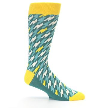 Image of Gem Green Yellow Houndstooth Men's Dress Socks (side-1-25)