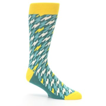 Image of Gem Green Yellow Houndstooth Men's Dress Socks (side-1-26)