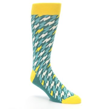Image of Gem Green Yellow Houndstooth Men's Dress Socks (side-1-27)