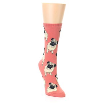 Coral Pug Dog Socks for Women
