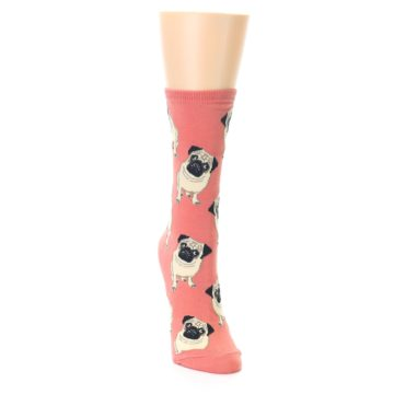 Image of Coral Pug Socks – Women's Novelty Socks (side-1-front-03)