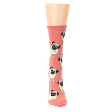 Image of Coral Pug Socks – Women's Novelty Socks (front-04)