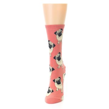 Image of Coral Pug Socks – Women's Novelty Socks (side-2-front-06)