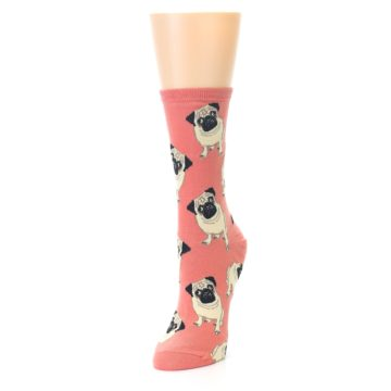 Image of Coral Pug Socks – Women's Novelty Socks (side-2-front-07)