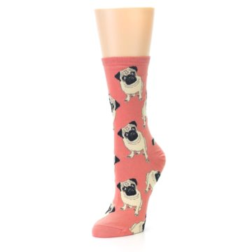 Image of Coral Pug Socks – Women's Novelty Socks (side-2-front-08)