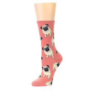 Image of Coral Pug Socks – Women's Novelty Socks (side-2-09)