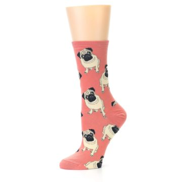 Image of Coral Pug Socks – Women's Novelty Socks (side-2-10)