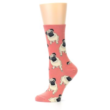 Image of Coral Pug Socks – Women's Novelty Socks (side-2-11)